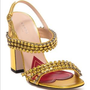 Gucci Bertie Metallic Gold leather sandal size 35